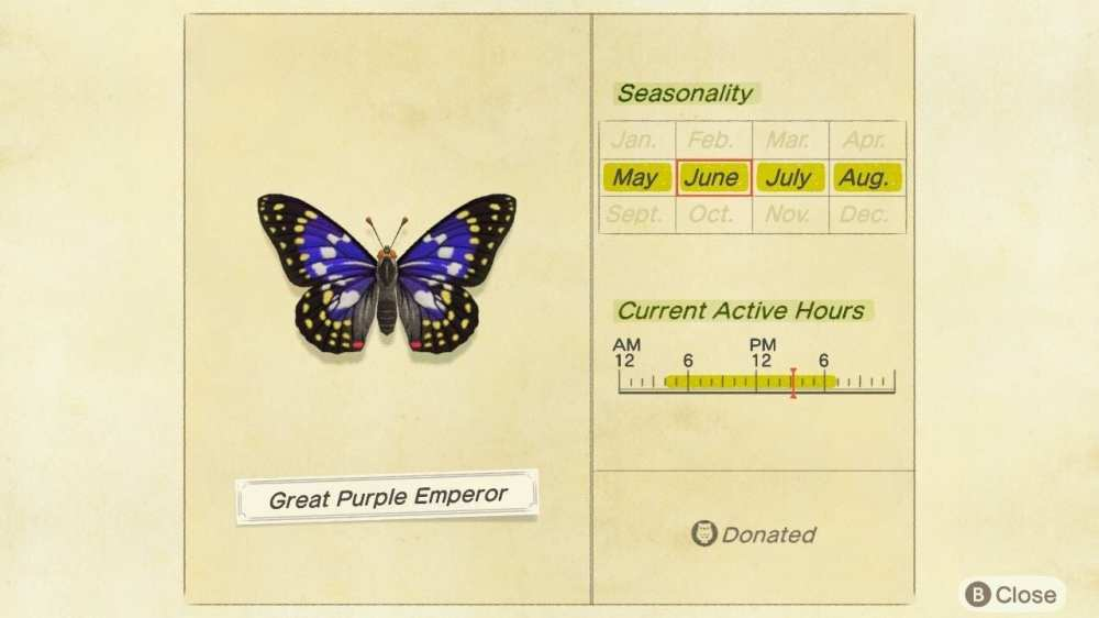 animal crossing new horizons great purple emperor