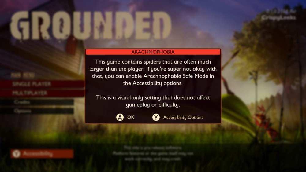 Grounded arachnophobia safe mode