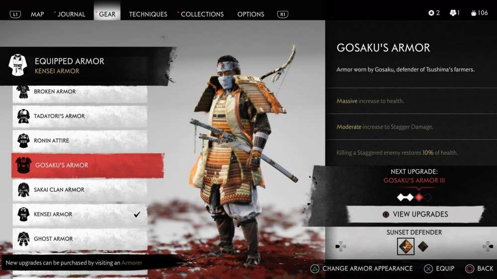gosaku armor keys, ghost of tsushima