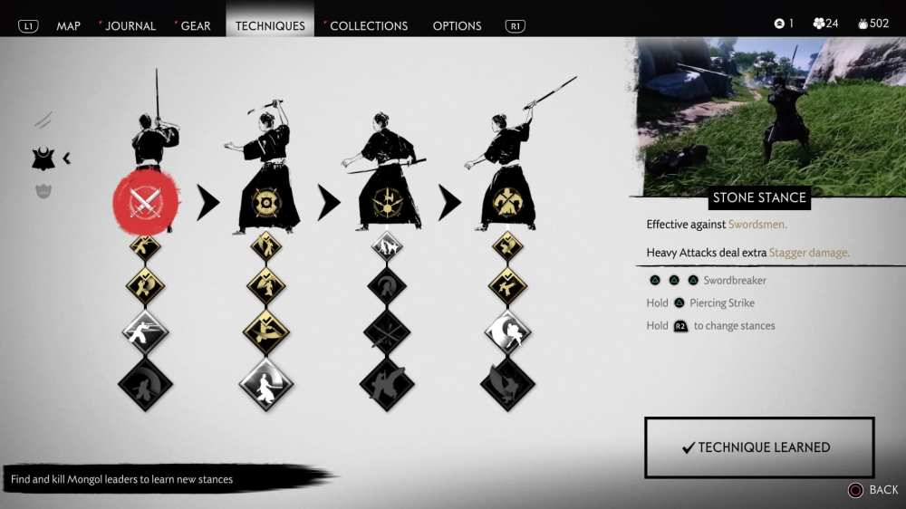 ghost of tsushima, technique points