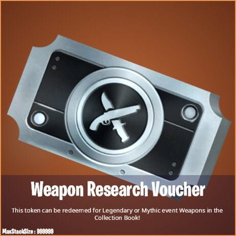 Weapon research vouchers in fortnite