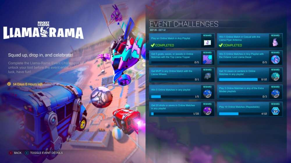 fortnite llama rama challenges in rocket league