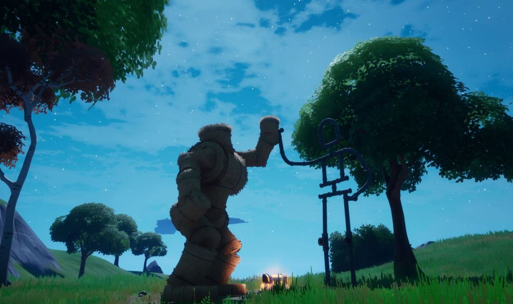 Emote as groot at a friendship monument in fortnite