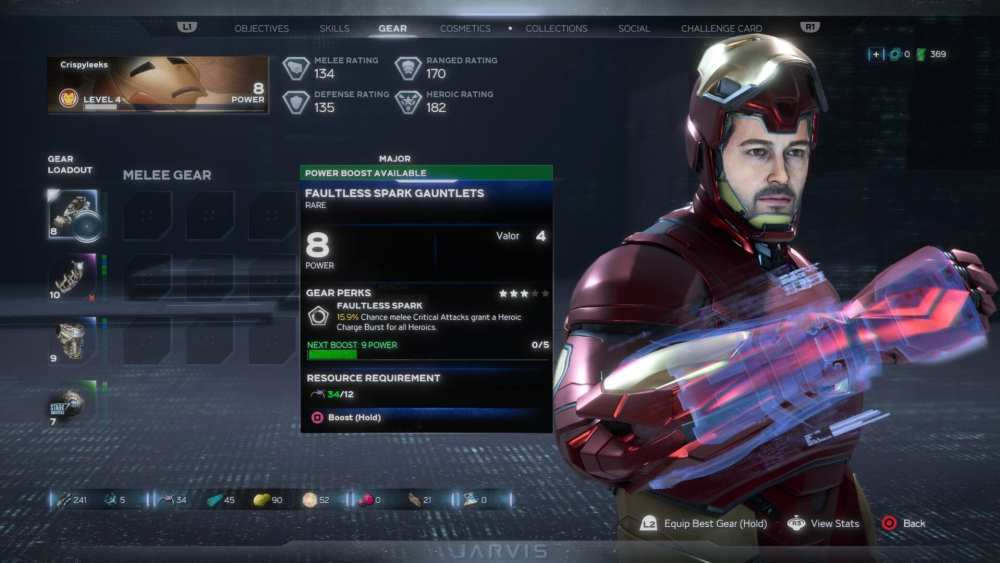 increase gear power level in marvel's avengers