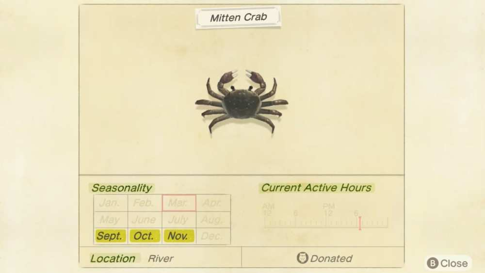 how to catch mitten crab in animal crossing new horizons, sell price, location