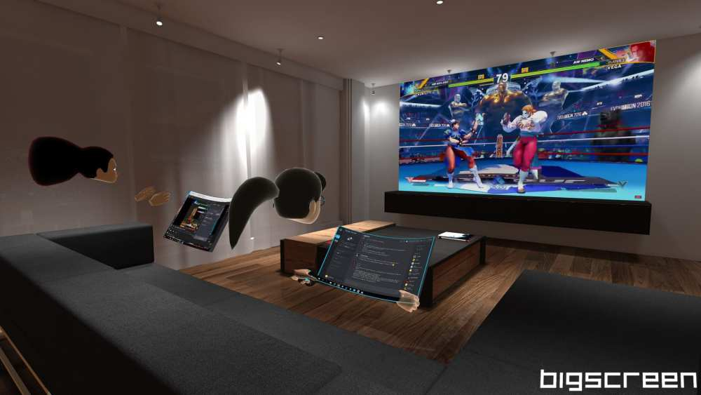 Users streaming a regular game through Bigscreen Beta on Oculus Quest