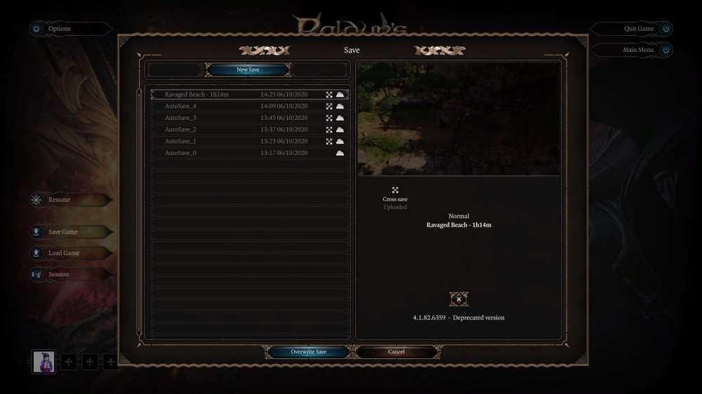 baldur's gate 3, save your game