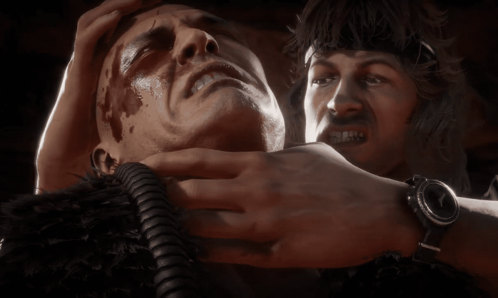Mortal Kombat 11 Rambo Gameplay Footage Reveals Sly Voiceover, Explosive Moves, & Bloody Fatality