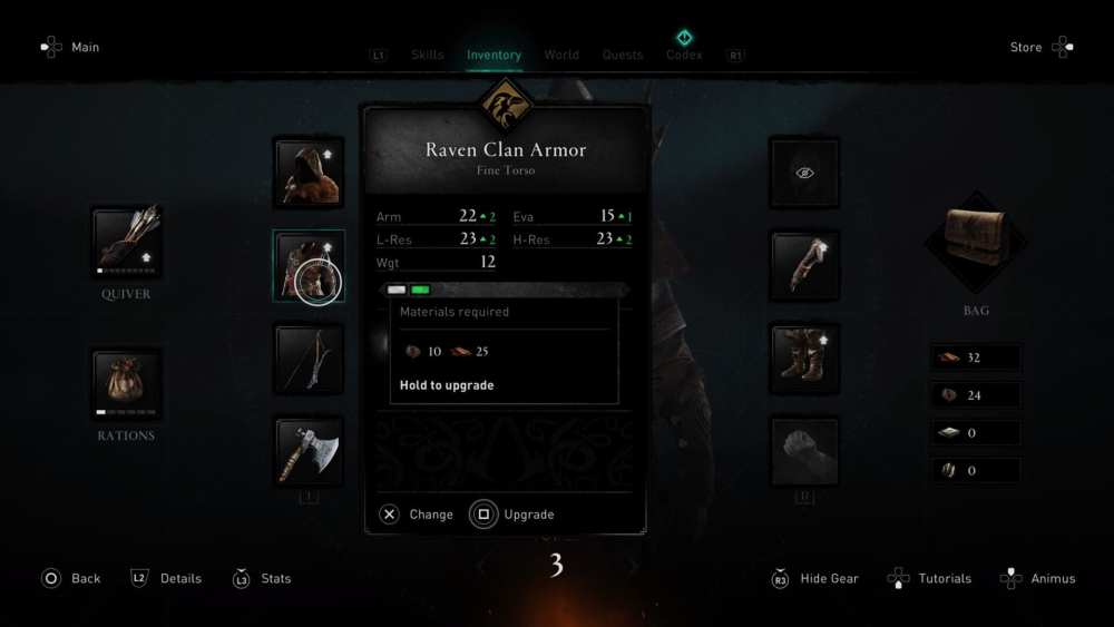 assassin's creed valhalla, upgrade weapons, upgrade armor