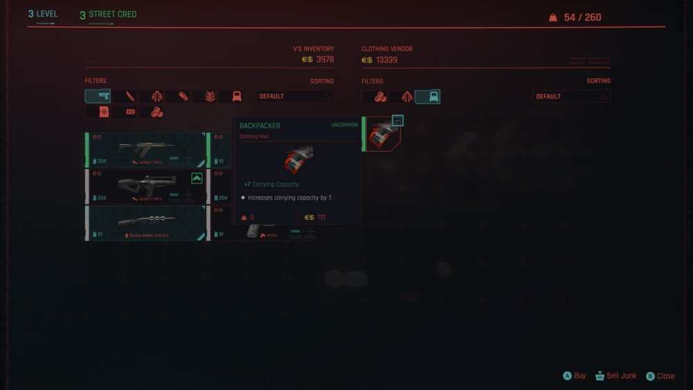 increase carry capacity in cyberpunk 2077