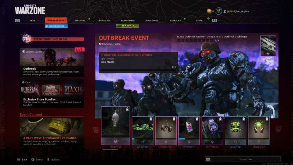 warzone outbreak challenges