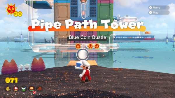 bowsers fury pipe path tower cat shines
