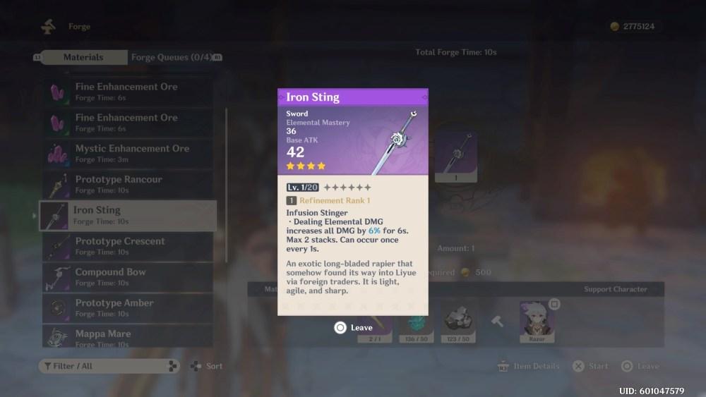 Genshin Impact Iron Sting Details