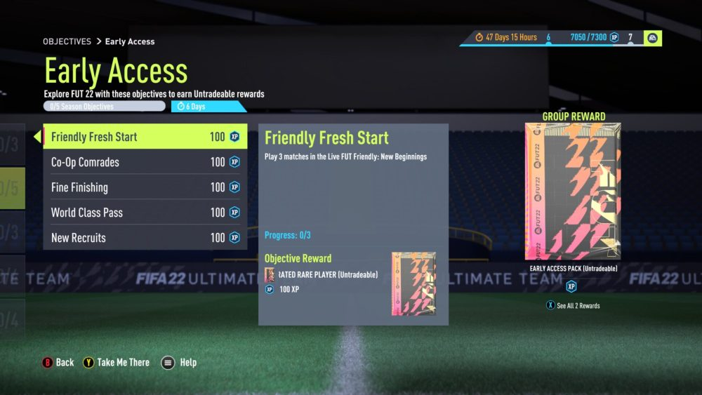 Fifa 22 early access objectives, fifa 22 early access pack