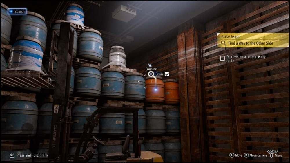 Lost Judgment, guide, warehouse door, drum