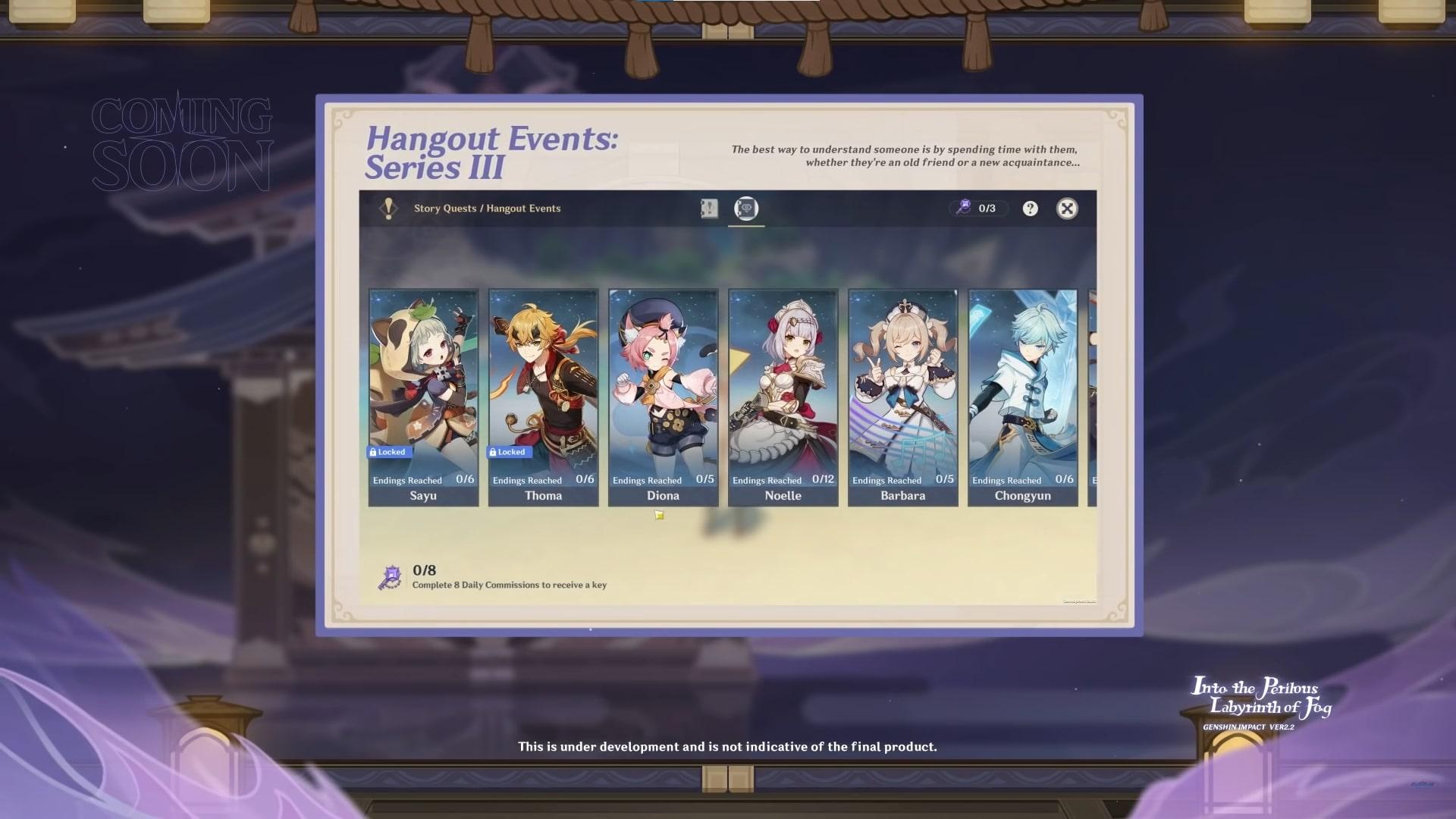 Genshin Impact 2.2 Hangout Events