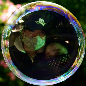Michelle & Justin in a bubble.