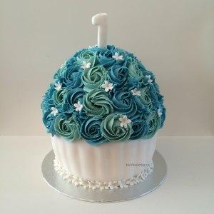 Smash cake blauw wit