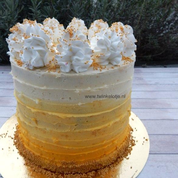 Gele ombre botercrème taart