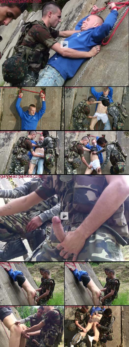 Gay War Games Commandos abuse their terrified captive