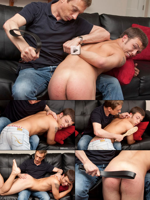 fey twink Ian gets a stinging spanking for disrespectful attitude
