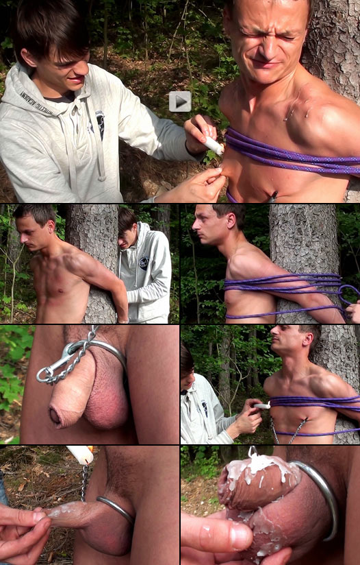 twink boyfriends experiment with outdoor bondage