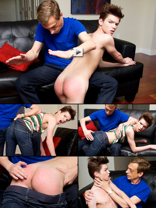 unreal twink gets his bare ass spanked red