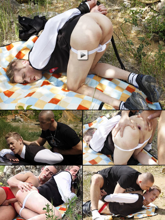 adorable blond twink roped and probed before getting a hard fucking