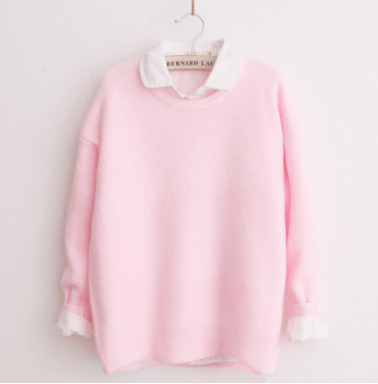 asian cute sweater pink