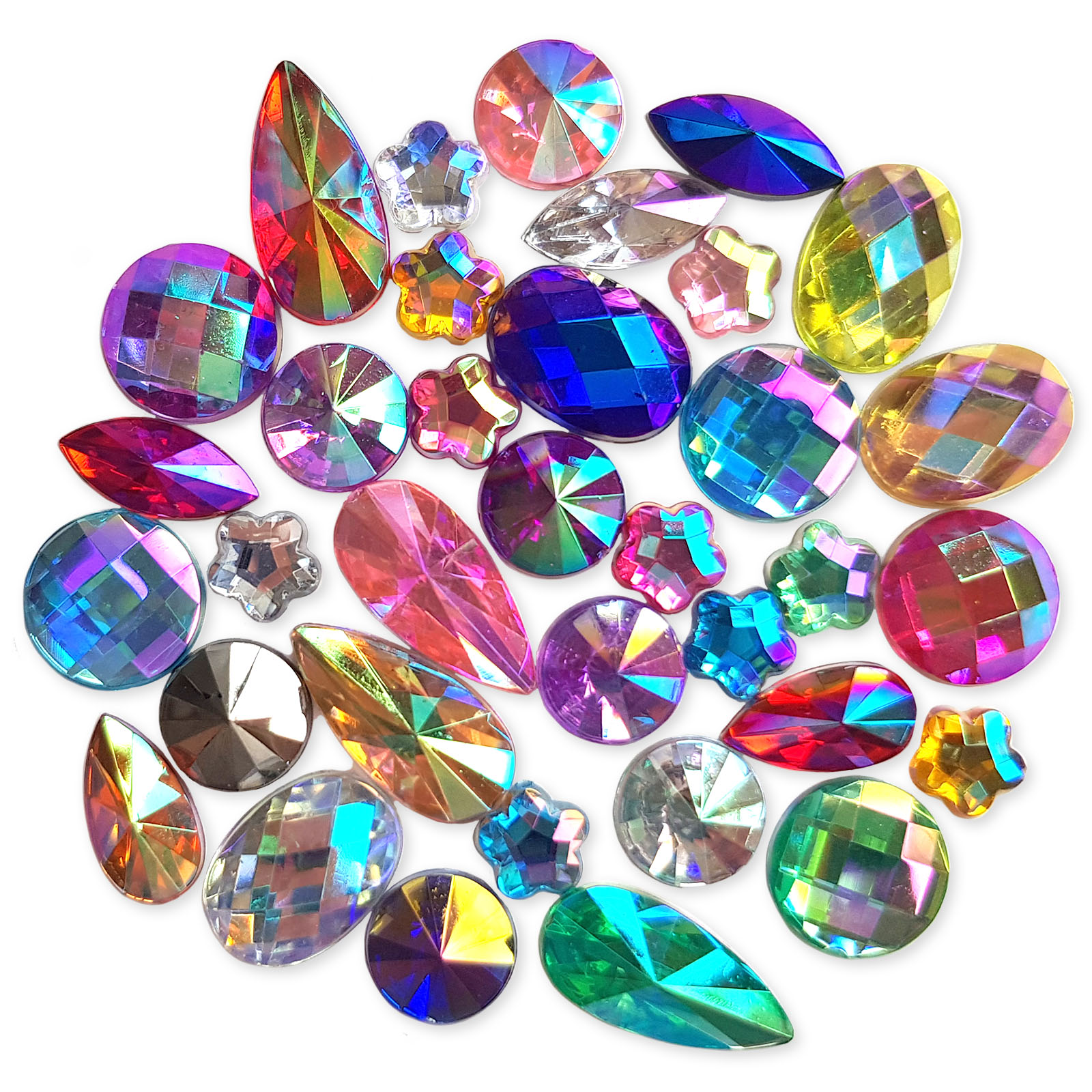 50pcs Assorted Ab Flatback Acrylic Crystal Rhinestone Embellishments Craft Gems Ebay