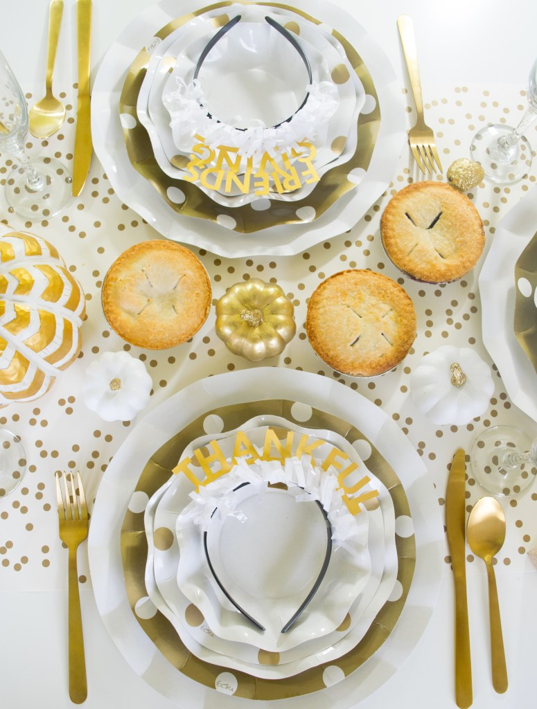 How to set up a White & Gold Fall Friendsgiving Tablescape