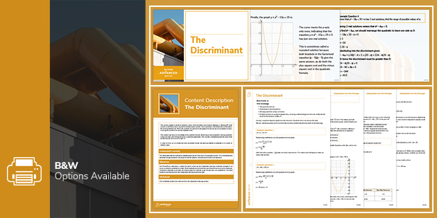 a level resources: Free resource: The Discriminant Lesson Pack
