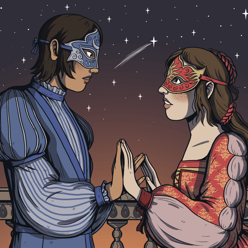 The starcrossed-lovers themselves from Beyond's Romeo and Juliet Revision Guide