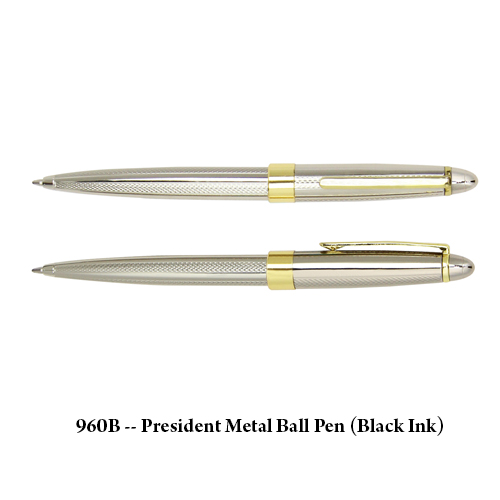 960B — President Metal Ball Pen (Black Ink)