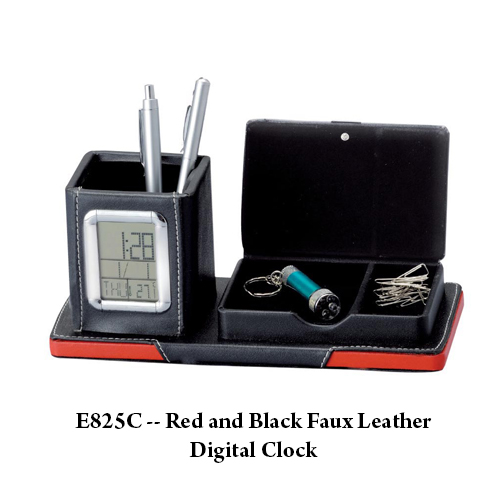 E825C — Red and Black Faux Leather Digital Clock