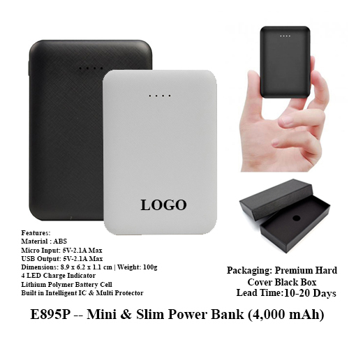 E895P — Mini & Slim Power Bank (4,000 mAh)