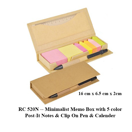 RC 520N — Minimalist Memo Box with 5 color Post-It Notes & Clip On Pen & Calender