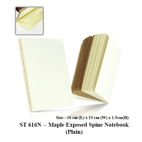 ST 616N — Maple Exposed Spine Notebook (Plain)