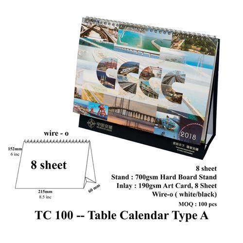 TC 100 — Table Calendar Type A