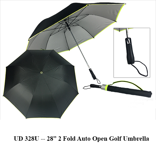 "UD 328U — 28"" 2 Fold Auto Open Golf Umbrella"