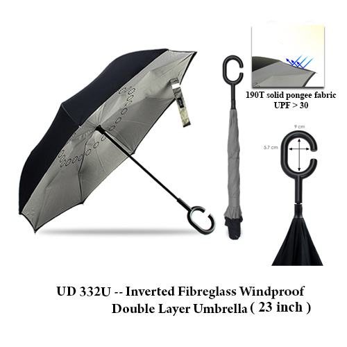 UD 332U — Inverted Fibreglass Windproof Double Layer Umbrella (23 inch)