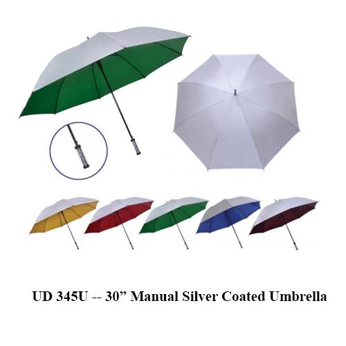 "UD 345U — 30"" Manual Silver Coated Umbrella"