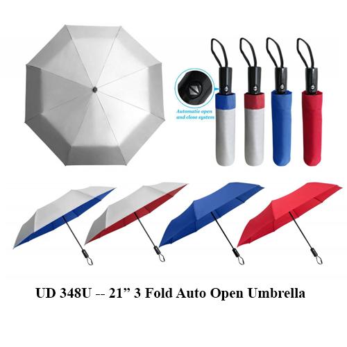 """UD 348U — 21"""" 3 Fold Auto Open Umbrella"""