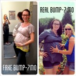 At around 10 weeks we went shopping at Motherhood Maternity and tried on the fake 7 month bump