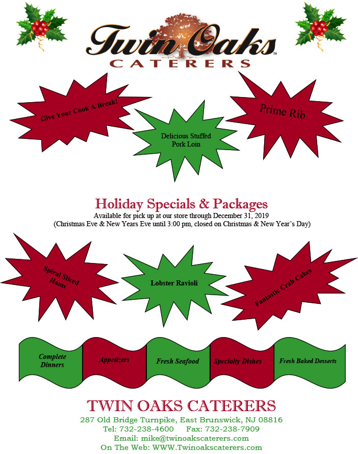 2019 Christmas Holiday Menu and Special Packages