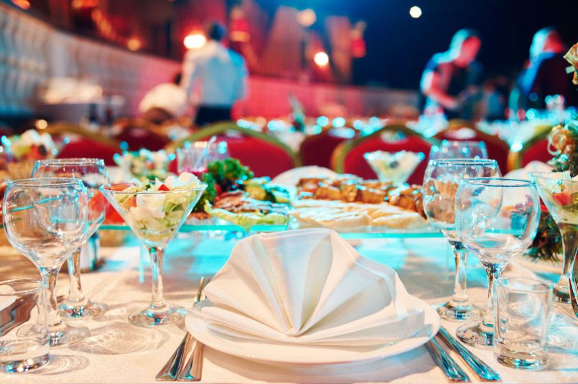 Catering event service. set table at party
