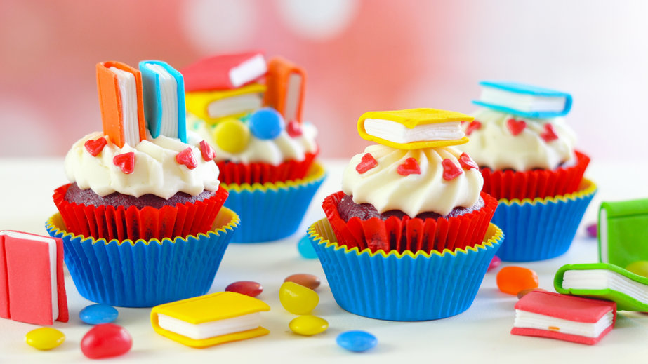 Bright colorful Back to School theme cupcakes