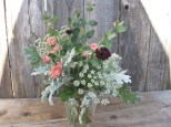 dusty miller, mums, anne lace, bach button, snow berry greens