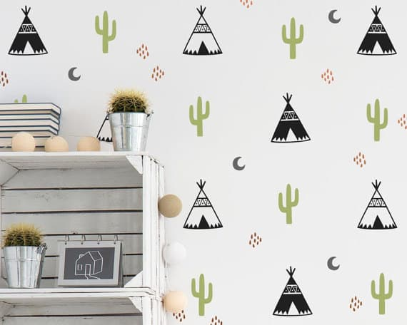 DIY murals for kids rooms decals teepee cactus
