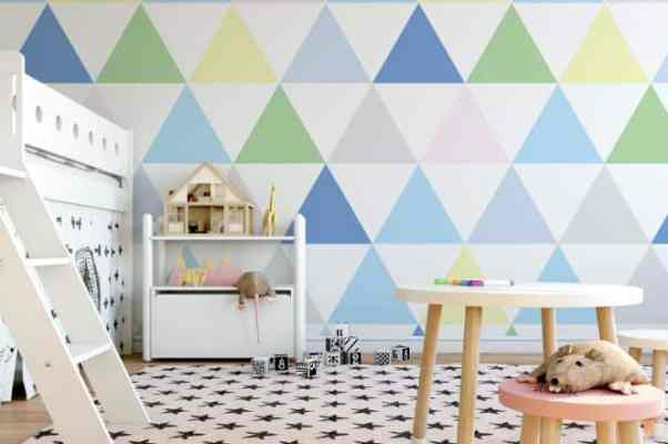 Big Blue Triangle Self-Adhesive Wallpaper - WallabyWalls
